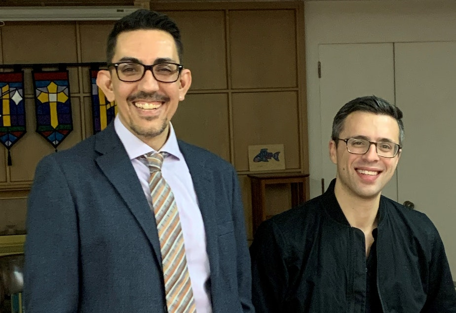 KUOW's Director of Community Engagement Zaki Hamid and Author Ezra Klein at a University Book Store Event.
