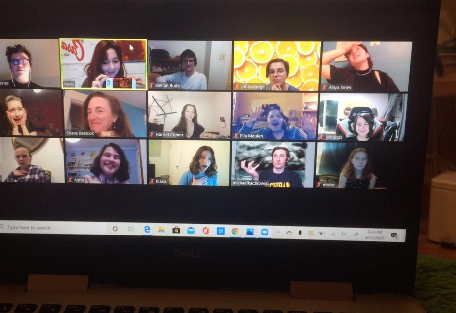 """caption: The cast of Penguin Productions' new version of Shakespeare's """"King Lear"""" rehearse via Zoom with director Shana Bestock, second row, second from left"""