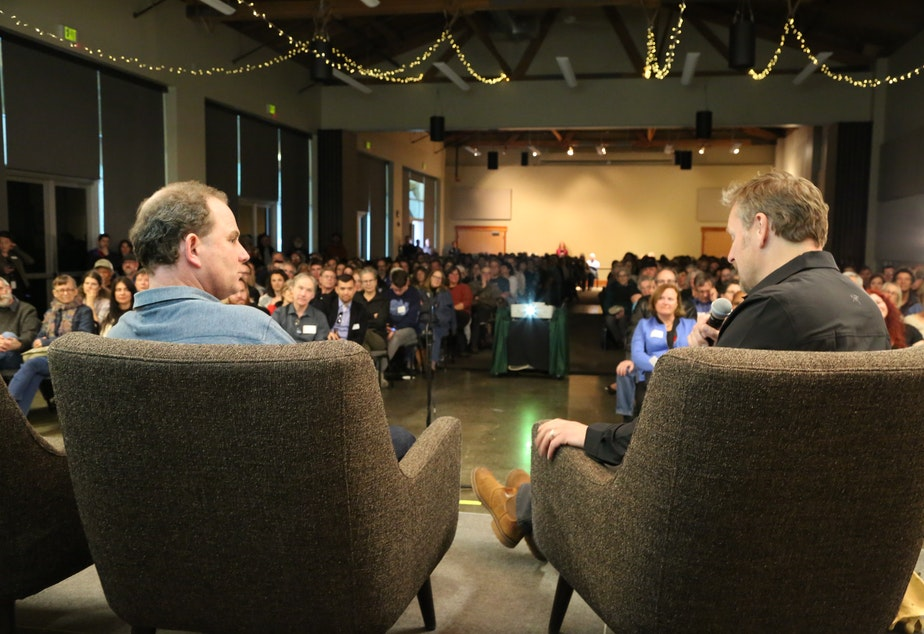 Filmmaker Ian McAllister and Chris Morgan in front of a live audience on April 26, 2019 at The Mountaineers in Seattle.