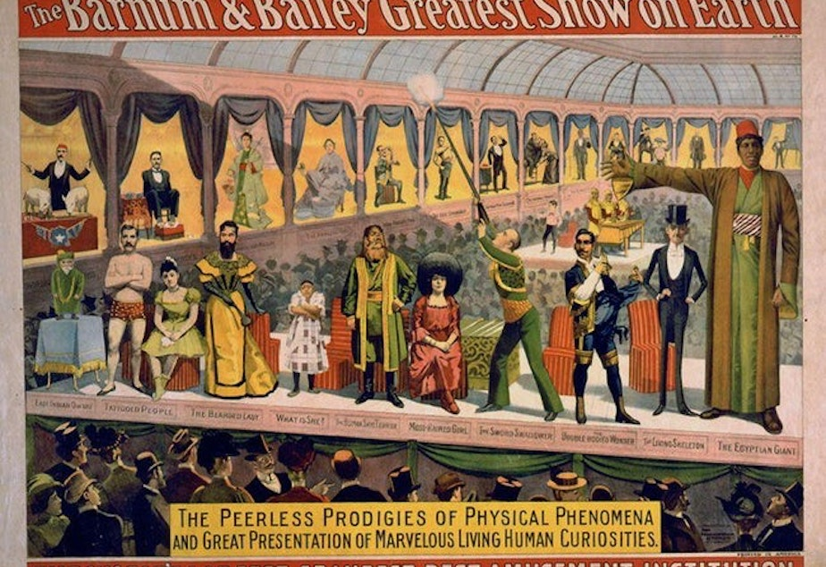 caption: Barnum & Bailey sideshow advertisement.