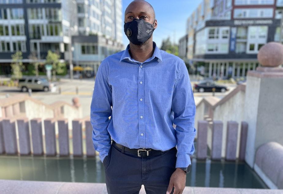 """caption: Bellevue City Councilmember Jeremy Barksdale at Bellevue's Downtown Park, along the future """"Grand Connection"""" pedestrian route through downtown Bellevue."""