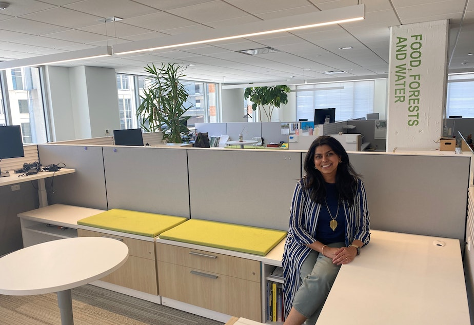 caption: Renuka Iyer, Chief Human Resources Officer for the World Resources Institute, sits in the empty office. All of their staff have been working remotely since March 2020.