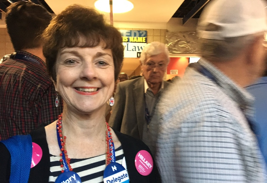 Washington delegate Pamela Eakes at the convention in Philadelphia: 'Young girls right now can look up and they're going to see a president who is a mother, a woman.'