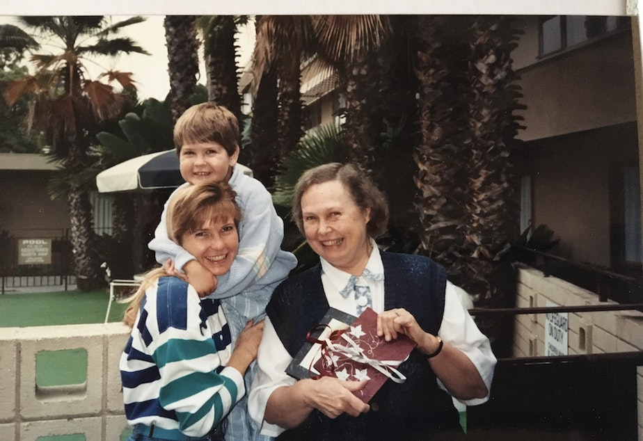 caption: Left to right: Carol Smith with her son Christopher and her mother Nancy.