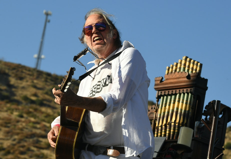 caption: Musician Neil Young, performing in Lake Hughes, Calif. last September.