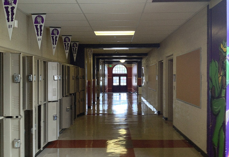 caption: The empty hallway at Garfield High School in Seattle's Central District.