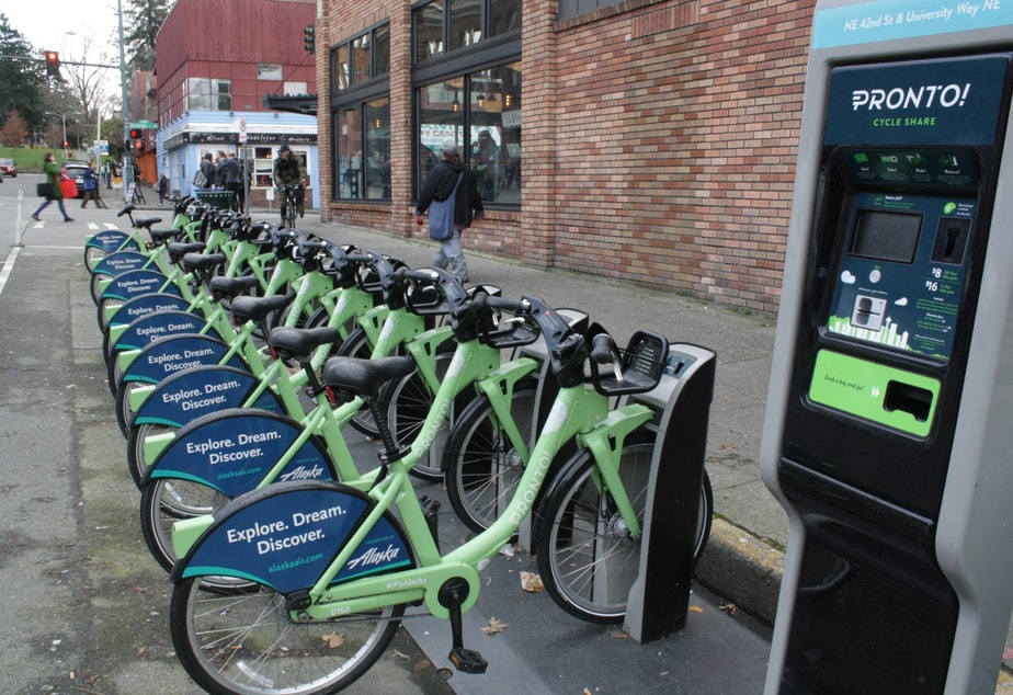 caption: Pronto Bikes in Seattle's University District