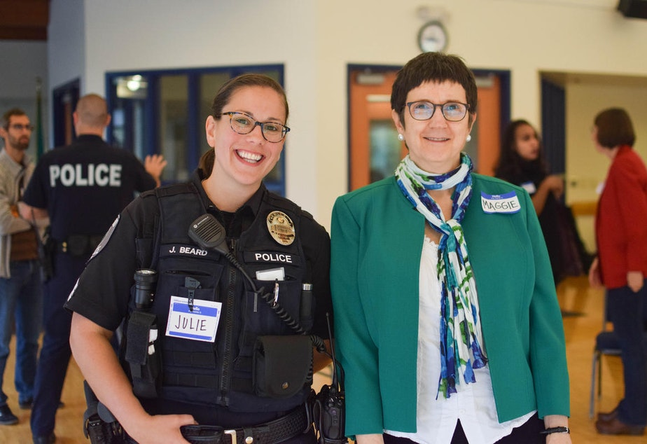 caption: Julie and Maggie at KUOW's Ask a Cop event