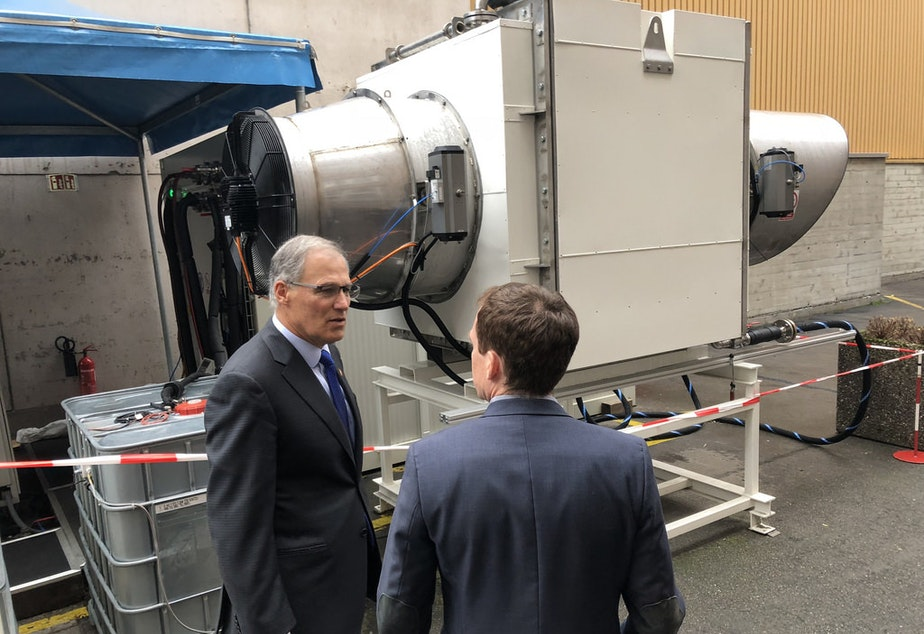 caption: Gov. Jay Inslee leads a study mission to Switzerland to learn more about the country's apprenticeship system November 10, 2017.