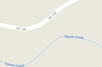 """""""Squaw Creek"""" is southwest of the town of Methow in Eastern Washington. Screenshot from Google Maps."""