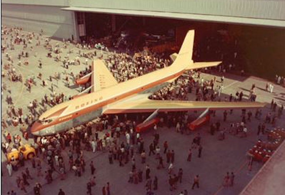 The Boeing Dash 80 rolls out of the Renton, Washington plant in May 1954.