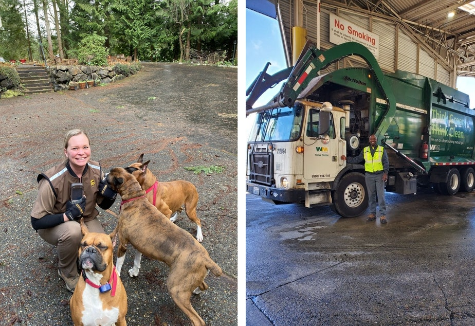 """caption: Laurel Gemmel (L) and Richard Mason-Oglesby (R) are """"essential"""" workers under Governor Jay Inslee's definition"""