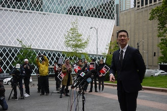 Hawaii Attorney General Doug Chin outside the U.S. Court of Appeals in Seattle