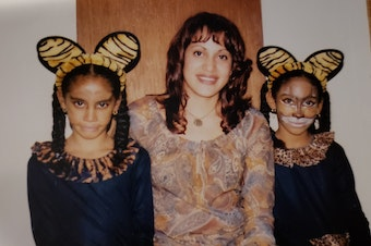 Liz Garcia and her daughters on Halloween circa 2001 or 2002. The photo was taken in the apartment where Garcia was raped a few years later.