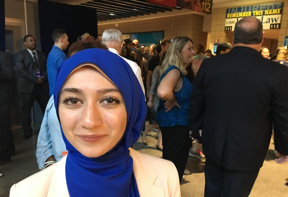 "caption: UW student Varisha Khan at the Democratic National Convention in July. She says it's important  that ""the hate speech they we're hearing -- the hate speech that's become the norm -- that that gets challenged."""