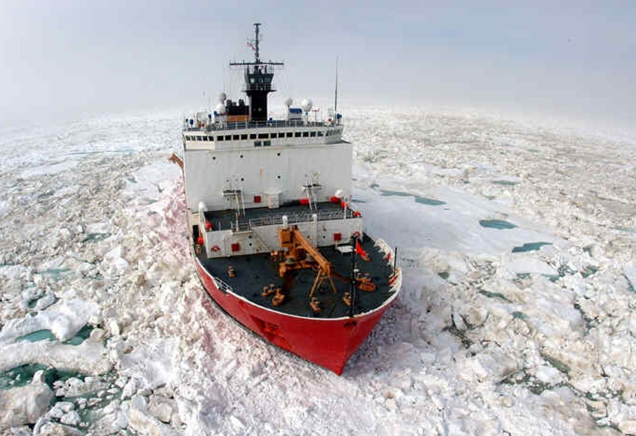 caption: The Coast Guard icebreaker Healy has returned to Seattle. The summer ice has gotten easier to navigate, which made it possible for the HEALY to travel alone.