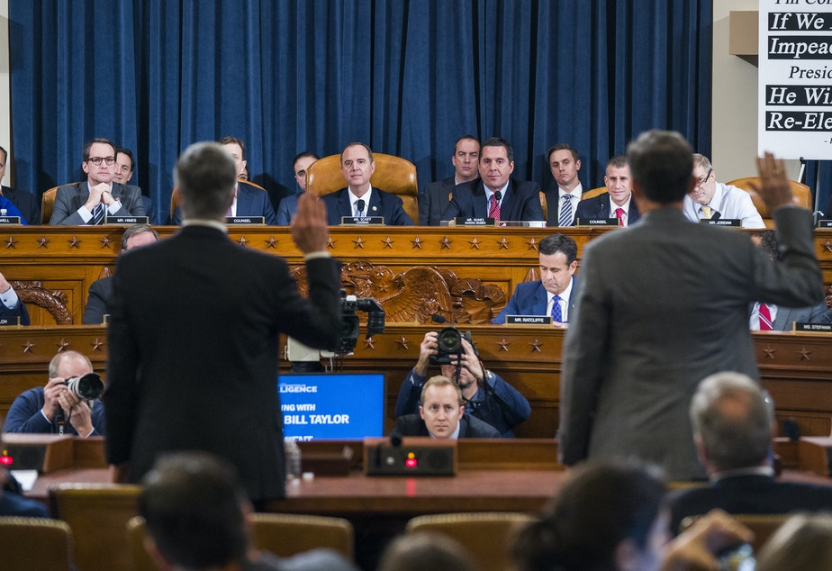 caption: Two witnesses seen as crucial to the case against President Trump in the impeachment inquiry testified Wednesday.
