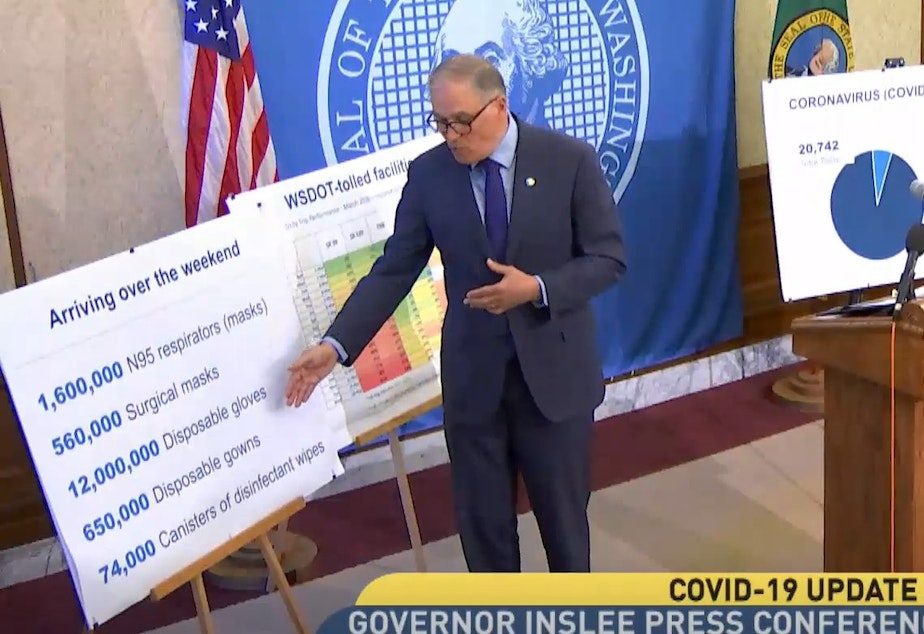 caption: March 20th, Washington State Governor Jay Inslee announces medical supplies that were expected to arrive from the Strategic National Stockpile.