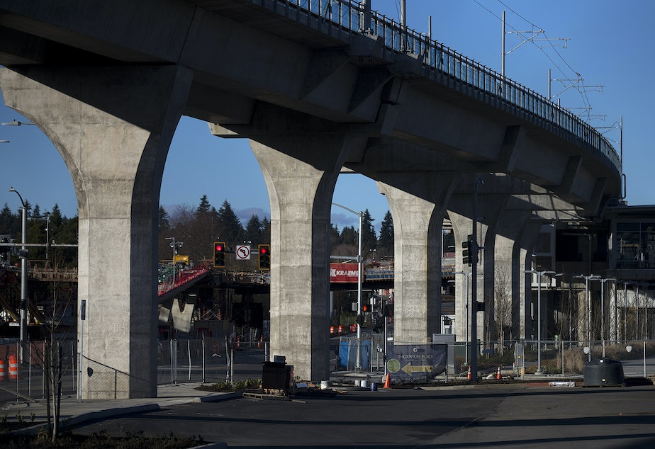 caption: Construction of the Sound Transit Northgate Link Light Rail continues on Tuesday, February 9, 2021, in Seattle. Projects currently under construction will not face delays, but projects still being planned could face delays of between 2 and 10 years, if projected budget shortfalls don't disappear.