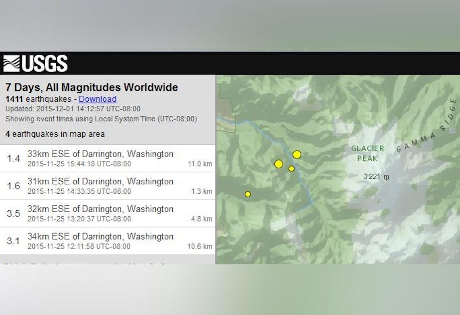Screenshot of recent earthquake activity in the Glacier Peak area.