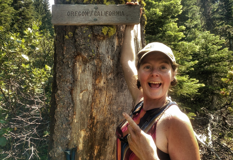 "Heather ""Anish"" Anderson on the Pacific Crest Trail at Oregon-California border."