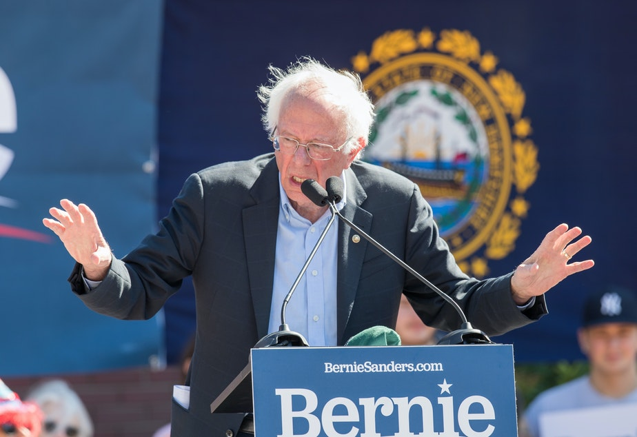 PLYMOUTH, NH - SEPTEMBER 29: Democratic presidential candidate, Sen. Bernie Sanders (I-VT) speaks during his event at Plymouth State University.