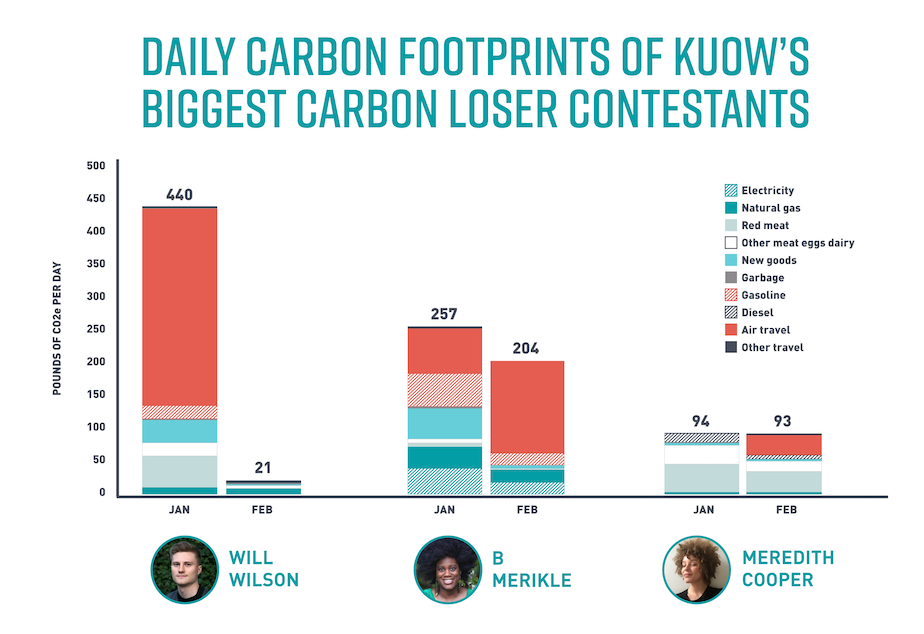 Daily carbon footprints chart -- detailed breakdown