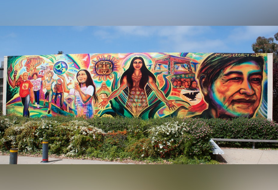 caption: A mural celebrating Chicano history at UC San Diego (2010).