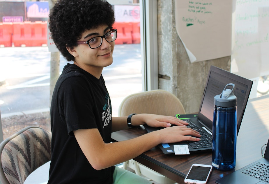 The author, who is now 17, working at RadioActive's summer workshop. He was diagnosed with ulcerative colitis when he was 12.
