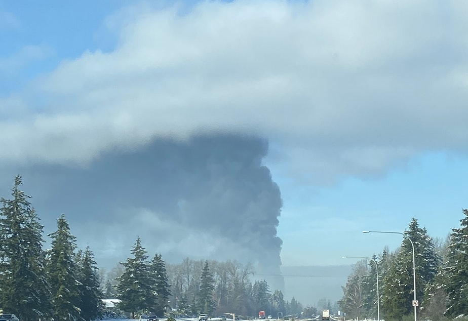 caption: The Custer oil-train fire seen from Interstate 5