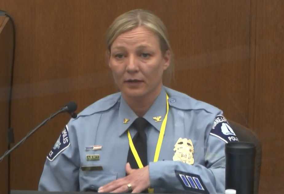 caption: Minneapolis Police Inspector Katie Blackwell told jurors on Monday that former officer Derek Chauvin's restraint of George Floyd on May 25, 2020, did not fit the department's training in  defensive maneuvers.