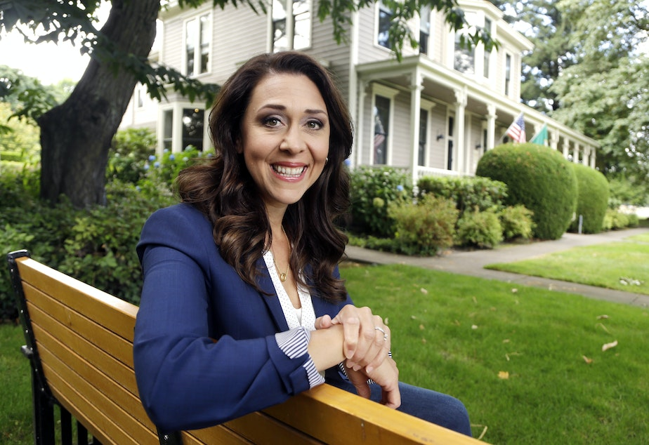 caption: Republican U.S. Rep. Jaime Herrera Beutler, representing southwest Washington state's 3rd Congressional District, poses for a photo in Vancouver, Wash., Aug. 27, 2018.