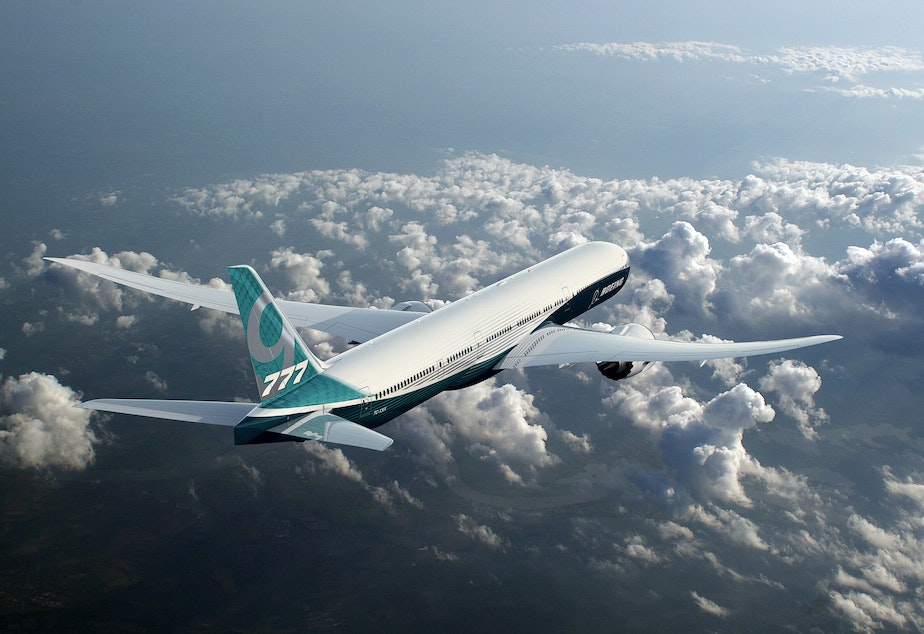 At the heart of the debate: The Boeing 777X jetliner (a prototype).