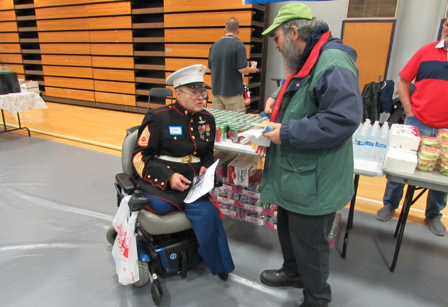 Marine Veteran Vincent Romano with a fellow veteran. Romano served between 1967 and 2006.