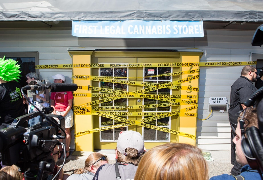 caption: Cannabis City opened on July 9. At the time it was the only store able to open -- others faced obstacles including distance between them and schools.