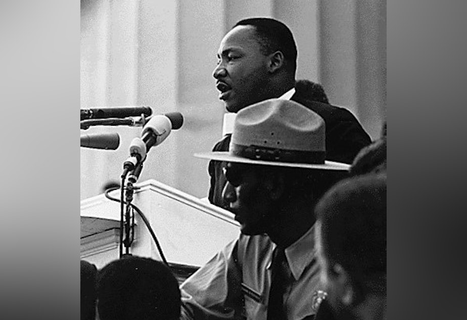 "Martin Luther King, Jr. delivers his seminal ""I Have a Dream"" speech."