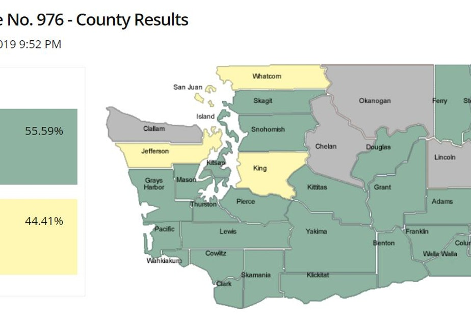caption: Voting against cheaper car tabs are the residents of King, Whatcom and Jefferson counties — historically very liberal counties. Voting in favor of cheaper car tabs are counties in green.