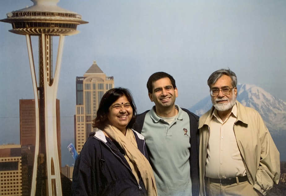 caption: Madhurima, Agastya and Narendra Kohli in Seattle in 2004.