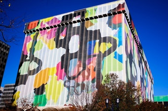 Amazon tapped Crystal City, Virginia, as one of its next homes. But Crystal City is a bit drab, and its architecture brutalist, so the city's main developer sassed up the place with paint and some giant fabric building wraps. This particular one was among our favorites.