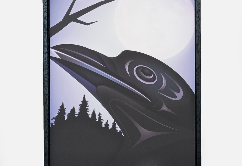 """Kaka (Crow and Moon)"" by Shaun Peterson-Qwalsius (Puyallup)"