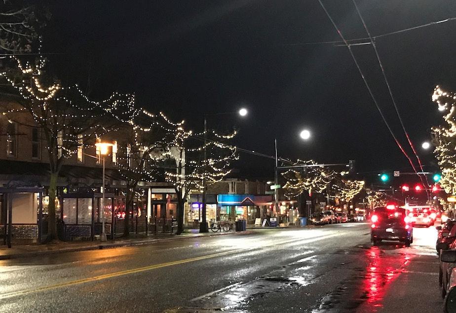 caption: Tree lights on Market Street in downtown Ballard.