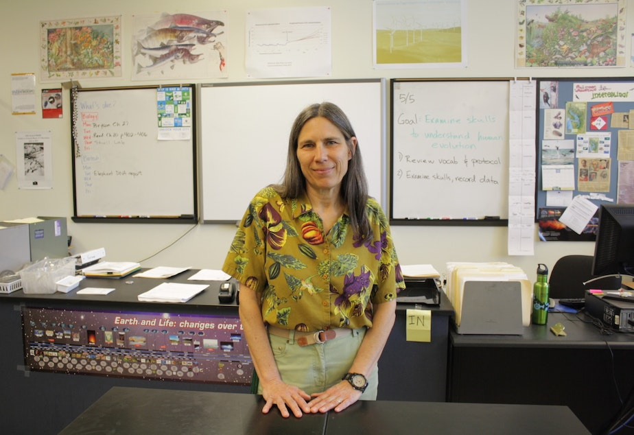 caption: Cindy Jatul teaches biology/biotech at Roosevelt High School in Seattle. She says her first-period students are often too sleepy to learn.