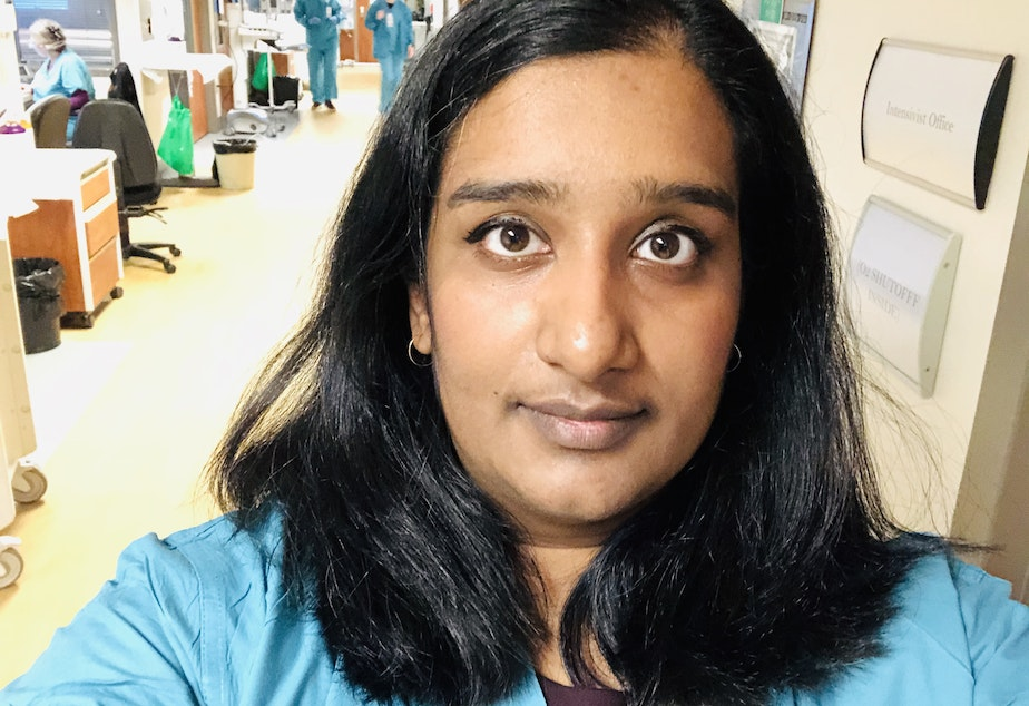 caption: Dr. Preethi Balakrishnan is a critical care doctor at Swedish where she has been caring for Covid-19 patients. She wonders what the long-term effects of the immense stresses of the job will be.