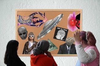 Fish aren't real, everyone's a lizard, and Beyonce runs the Illuminati? Acacia Niyogi (left), Selam Demile (center), and Zack Gates (right) ponder many of society's wild theories.