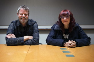 Doug Pray, director of the Grunge documentry Hype! (L) and Megan Jasper, CEO of Sub Pop Records