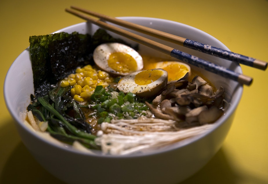 caption: Homemade ramen made by biggest carbon loser contestant Will Wilson is shown at his apartment on Monday, February 10, 2020, in Seattle.