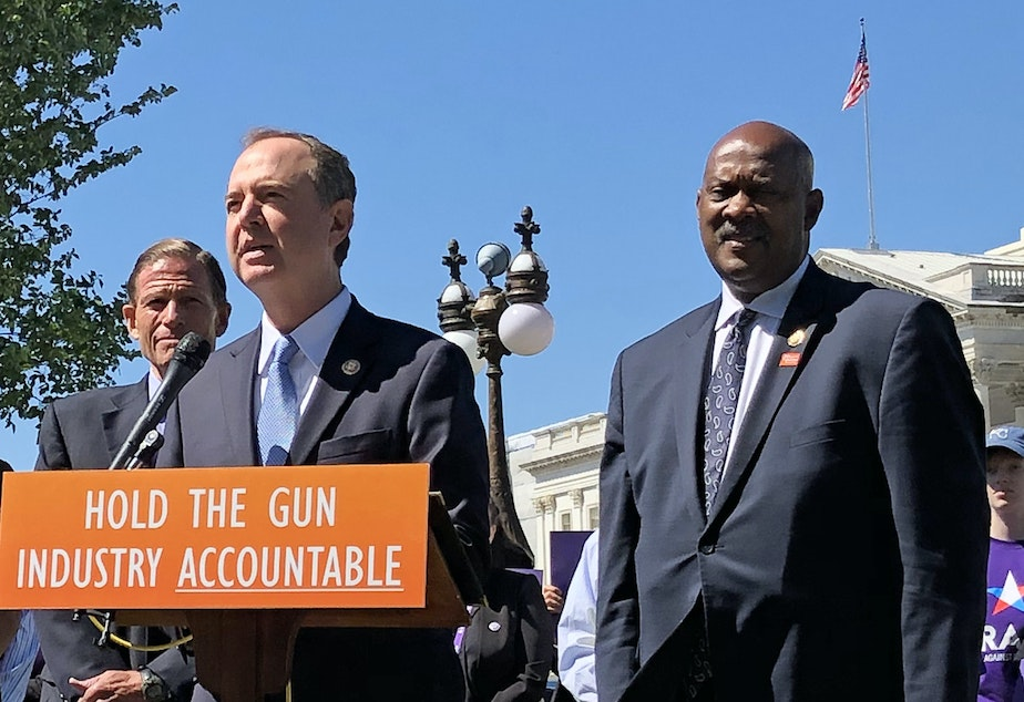 caption: California Rep. Adam Schiff speaks at a press conference as Reps. Jason Crow of Colorado (left) Debbie Mucarsel-Powell of Florida, Sen. Richard Blumenthal of Connecticut and Rep. Dwight Evans of Pennsylvania, look on. The Democratic leaders introduced the Equal Access to Justice for Victims of Gun Violence Act on Tuesday.