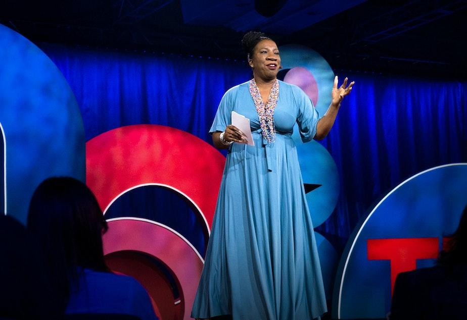 Tarana Burke on the TED stage.