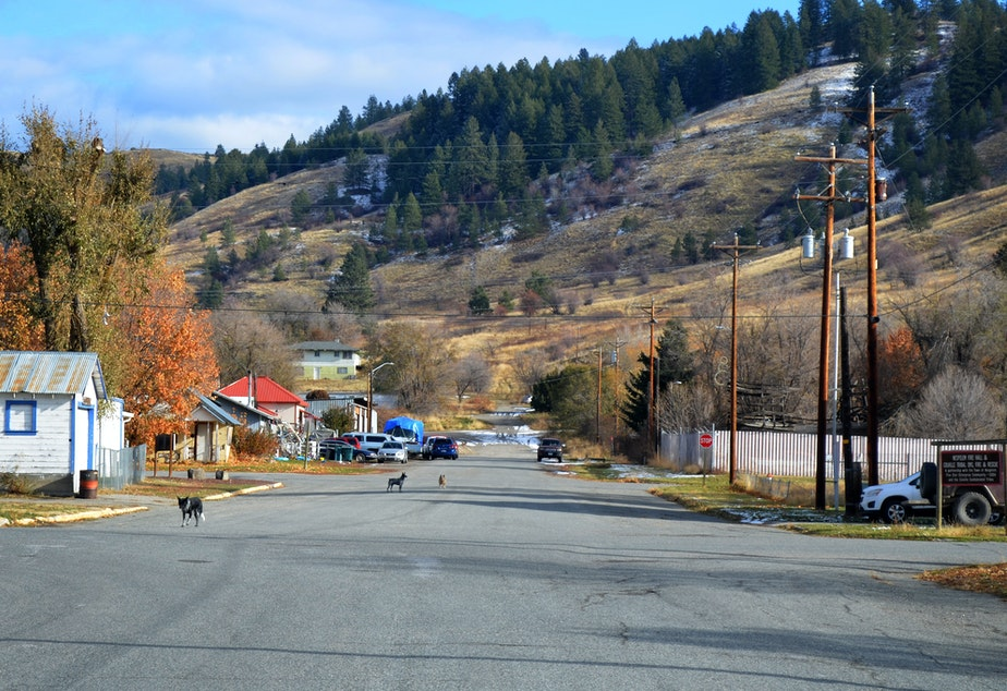 caption: The town of Nespelem, on the Colville Reservation, is about a dozen city blocks surrounded by hills speckled with snow in mid-November.