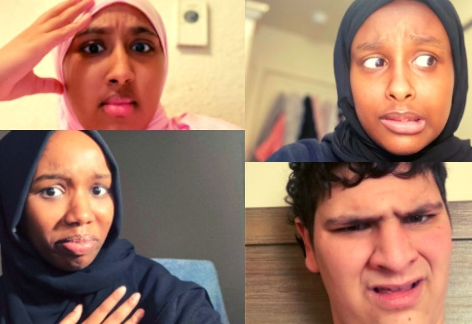 caption: RadioActive youth producers Kouther Ahmed (top left), Adar Abdi (top right), Lyn Strober-Cohen (bottom right), and Marian Mohamed (bottom left) have noticed some problems with representation in media.